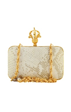 Ivory & gold metal clutch with mother of pearl