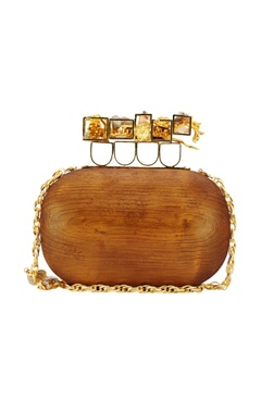 Wooden clutch with a gold handle
