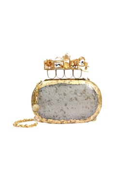 Gold & ivory resin clutch