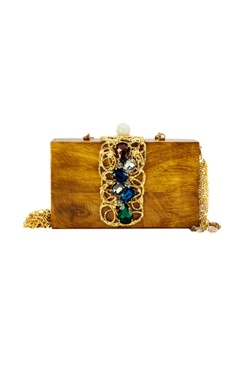 Brown wood clutch with glass & molten rings