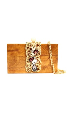 Brown wood clutch with multi coloured glass & molten rings
