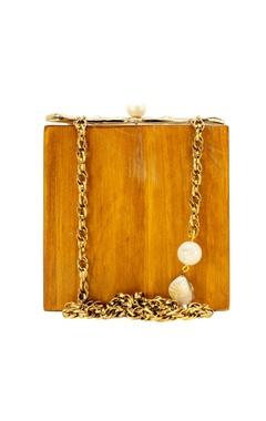 Ivory & gold wood clutch