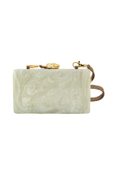 Ivory & brown wooden clutch with lasercut