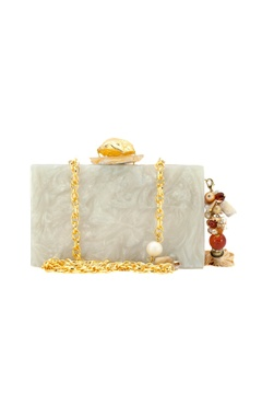 Gold & ivory wooden clutch with lasercut design