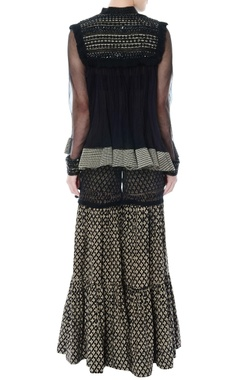 black organza kurta with kedia jacket & sharara pants