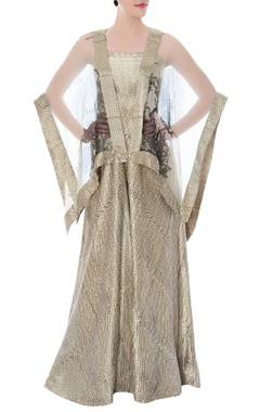 cream tube jumpsuit & ivory embellished cape