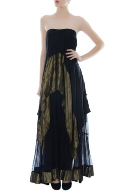 black & antique gold tube dress