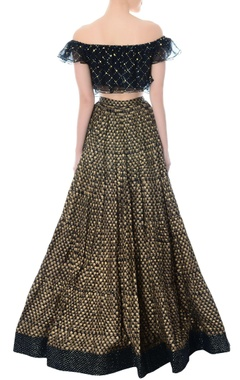 Black embellished crop top & block print lehenga