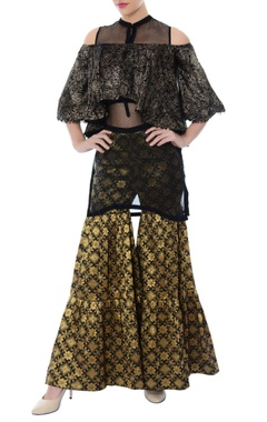 black & gold sharara pants with sheer inner & crop top