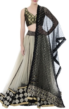 ivory tulle lehenga with brocade crop top & black dupatta