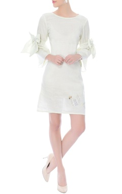 Off-white dress with bow tie-up sleeves