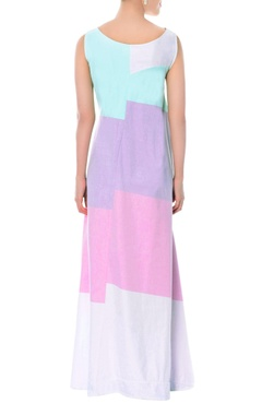 pastel maxi dress with embroidered details