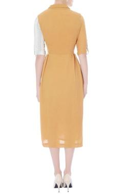 Mustard shirt dress with multi-print details