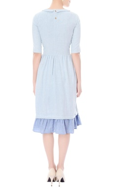Light blue A-line dress with floral patchwork detailing