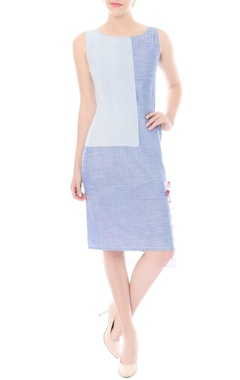 Shaded blue textured bodycon dress