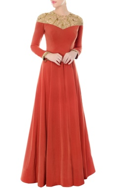 Rust anarkali with embroidered neckline