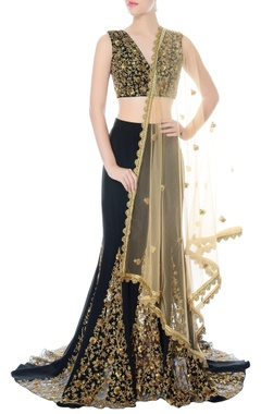 black hand embroidered lehenga set