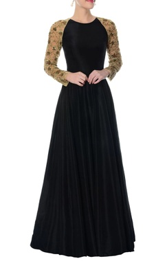 black silk anarkali with embellished sleeves