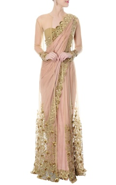 Onion pink scalloped sari with net jacket