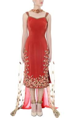 Nikhil Thampi Rust hand embroidered kurta set