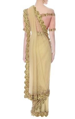 beige net sari & onion pink off-shoulder blouse