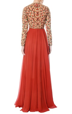 Rust hand embroidered anarkali with dupatta
