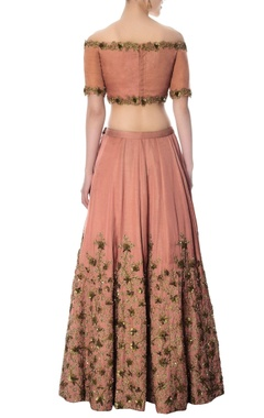 onion pink hand embroidered lehenga set