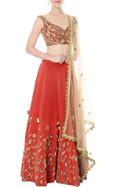 rust hand embroidered lehenga set
