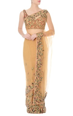Nikhil Thampi Nude hand embroidered sari with rust blouse