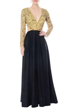 Nikhil Thampi Black hand embroidered anarkali with cutouts