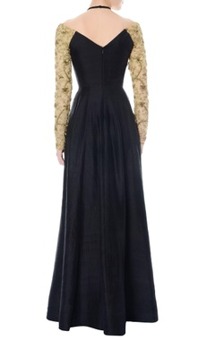 black cross neck anarkali