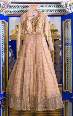 Beige embellished anarkali gown