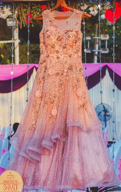 Peachy pink embellished gown