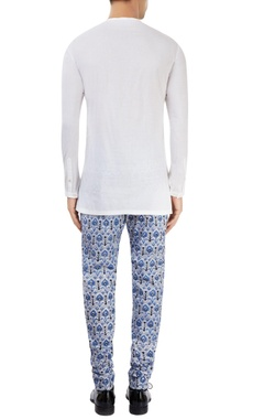 white kurta with printed pants