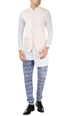 Dev R Nil - Men pastel pink nehru jacket with patch pockets