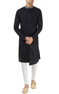 Dev R Nil - Men black sherwani with embroidered collar