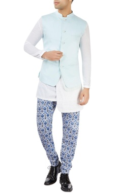 Dev R Nil - Men Pastel blue nehru jacket with printed layer