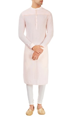 Dev R Nil - Men pastel pink  kurta with yoke