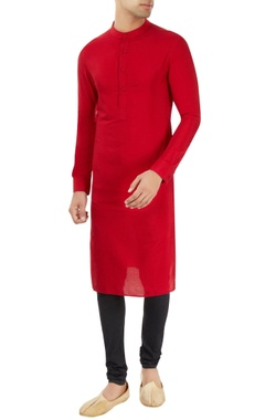 Dev R Nil - Men Red kurta with stand collar