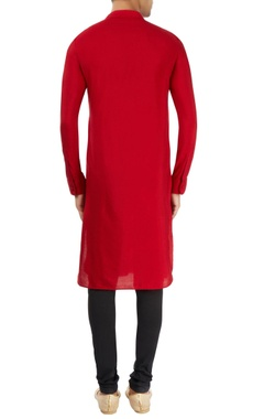 Red kurta with stand collar