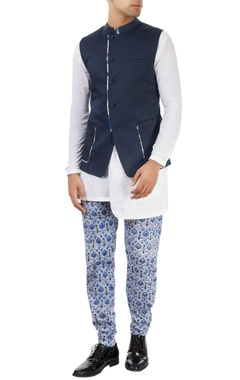 Dev R Nil - Men navy blue nehru jacket with off-center opening