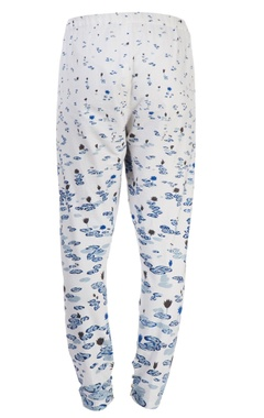 white lotus printed pants