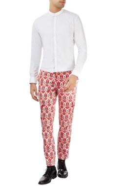 Dev R Nil - Men red motif printed pants