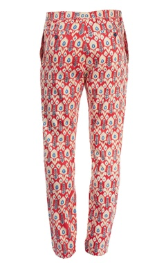 red motif printed pants