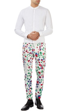 Dev R Nil - Men white pants with multi colored floral prints