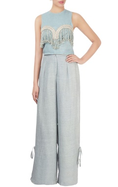 Light blue top with fringes
