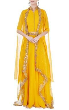 Yellow embroidered jacket lehenga