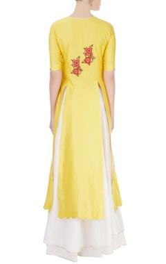 Yellow double-slit kurta & ivory skirt