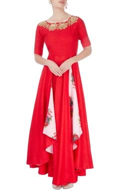 Aksh Ruby red asymmetric kurta