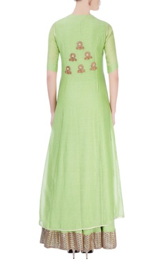 Pista green maxi dress with jacket